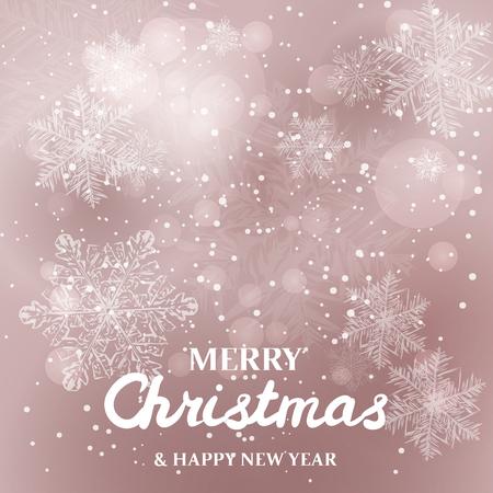 White snowflakes on glitter background. Merry Christmas Greetings card Standard-Bild - 113058476