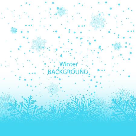 Blue snowflakes on white background. Winter background Standard-Bild - 113058433
