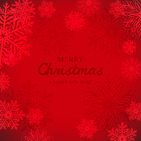 White snowflakes on red background. Merry Christmas Greetings card 矢量图像