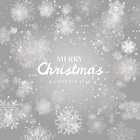 Merry Christmas Greetings card. Glitter Snowflakes Background.