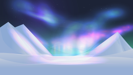 Colorful northern lights aurora borealis in night sky. Winter mountains vector illustration  イラスト・ベクター素材