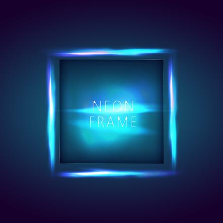 Insegna al neon. Cornice quadrata con incandescente e luce. Priorità bassa astratta al neon. banner vettoriale per il testo
