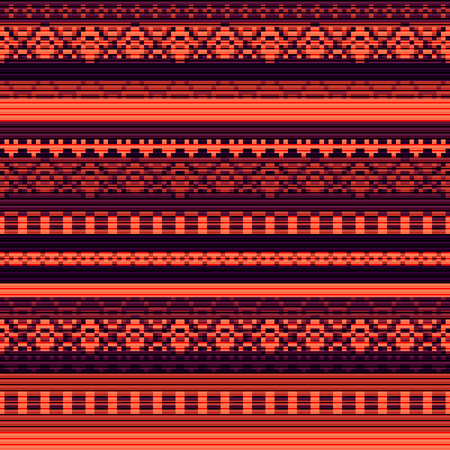 Seamless vector carpet. orange folk ornament in the style of embroidery. Pixel decorative pattern for textiles.