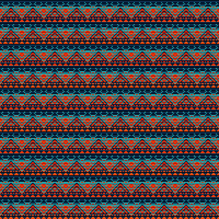 Seamless vector carpet. Blue and orange folk ornament in the style of embroidery. Pixel decorative pattern for textiles.