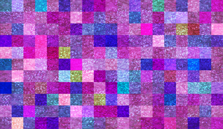 Abstract mosaic background with elements of drops and paint. chaos on square tiles. colorful colors. pink, purple, blue Illustration