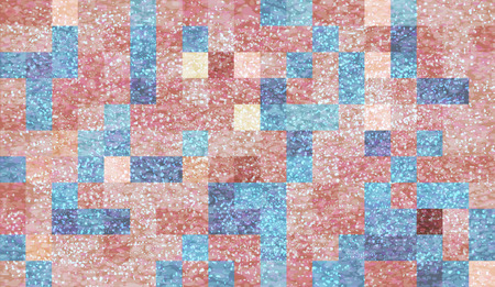 Abstract mosaic background with elements of drops and paint. chaos on square tiles. pastel colors