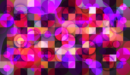 Abstract background of mosaic with elements of circles. chaos on square tiles. colorful colors. pink, purple, blue Illustration