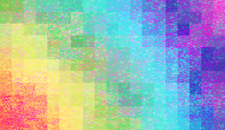 Abstract mosaic background with elements of drops and paint. chaos on square tiles. gradient background in grunge style. rainbow color, red, blue, green, yellow, blue, purple