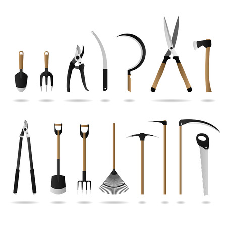 hoe: Gardening Tool Set  Illustration