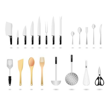 cuchara: Conjunto de utensilios de cocina  Vectores