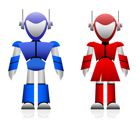 female cop: Male and Female Robot