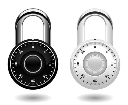 combination: Security Combination Pad Lock Vector