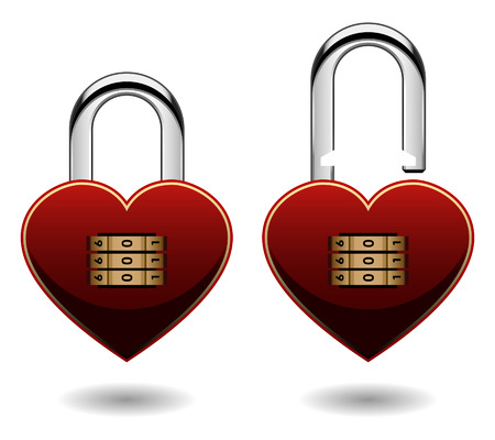 guard duty: Security Combination Pad Lock Love Heart Vector Illustration