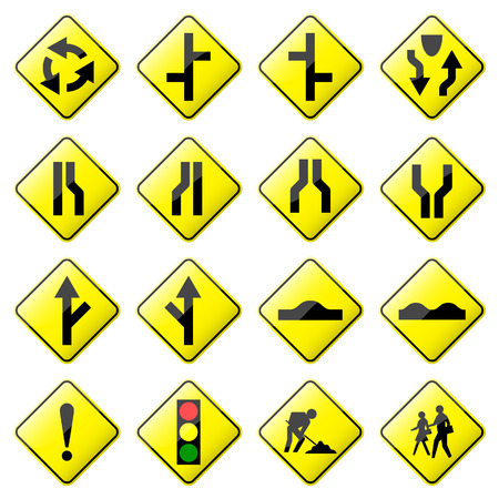 Road Sign Glossy  (Set 2 of 8) Vector
