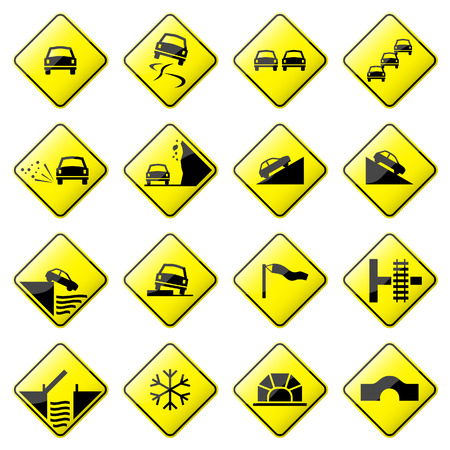 slippery warning symbol: Road Sign Glossy(Set 3 of 8)