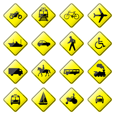 Road Sign Glossy  (Set 4 of 8) Stock Vector - 7128148