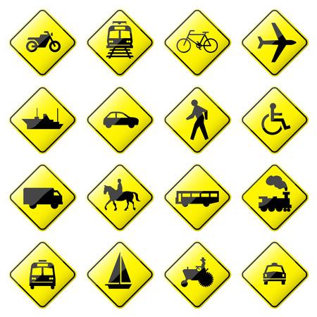 handicap sign: Road Sign Glossy  (Set 4 of 8) Illustration