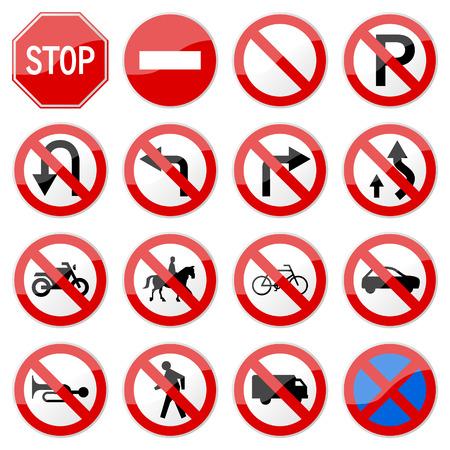 Road-Sign glanzend (set 6 of 8)  Vector Illustratie