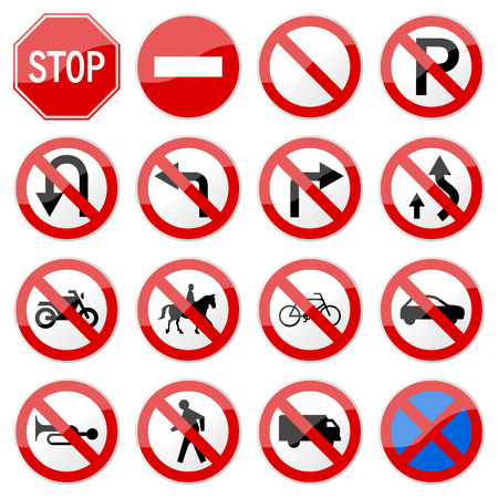 Road Sign Glossy  (Set 6 of 8) Vector