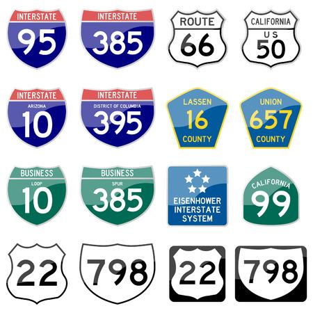 highway: Road Sign Glossy  (Set 8 of 8) Illustration
