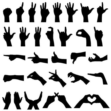 hand up: Hand Gesture Silhouettes Illustration
