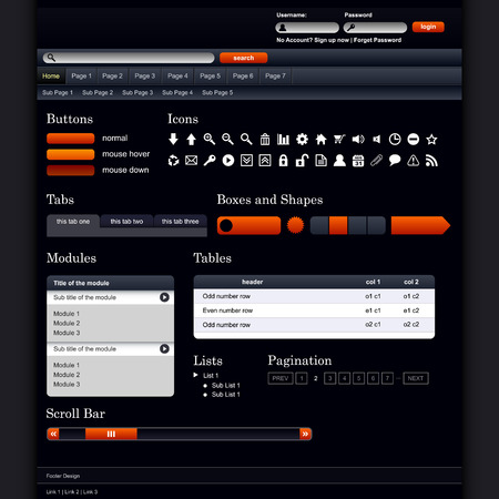 Web Design Elements 1 (Dark Theme) Vector Stock Vector - 7796659