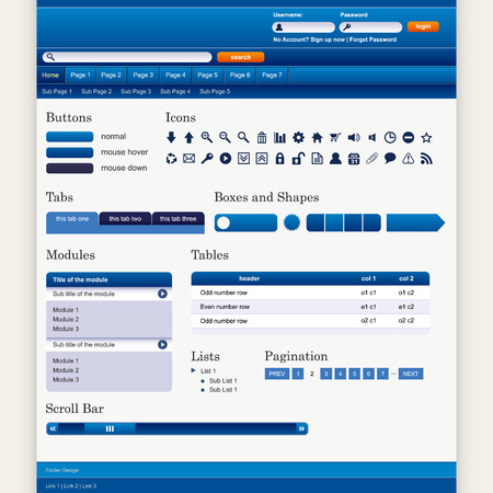 web page elements: Web Design Elements 1 (Blue Theme) Vector