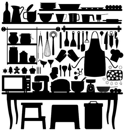 kuchnia: Pieczenia cukierniczych kuchnia narzÄ™dzie Silhouette wektorowe