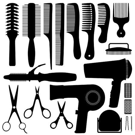 secador de pelo: Vector de silueta de accesorios de pelo  Vectores