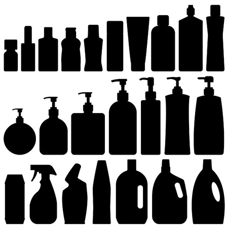 face wash: Bathroom Silhouette Set Vector Illustration
