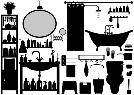 blinder: Bathroom Toilet Design Set Vector