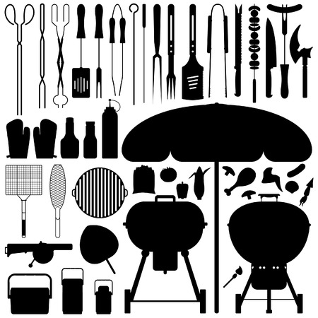 bbq: Barbecue BBQ Silhouette Set Vector