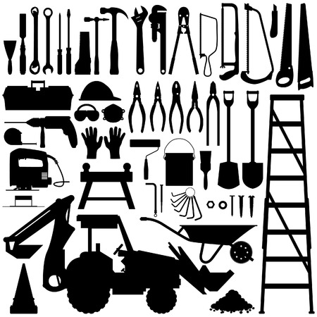 diy tool: Construction Tool Silhouette Vector Illustration