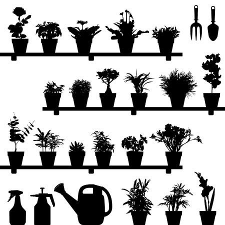 Fleur Plant Pot Silhouette Vector Vecteurs