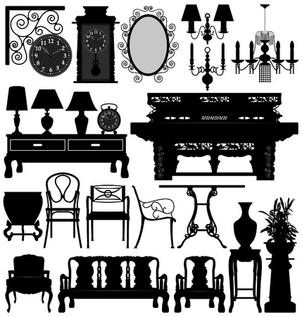 Antique Old Furniture Home House Vector Illustration