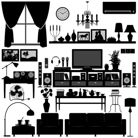 Modern Living Hall Furniture Home Interior Design Stock Vector - 7796672