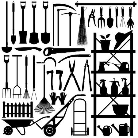 carretilla: Silueta de herramientas de jardiner�a  Vectores