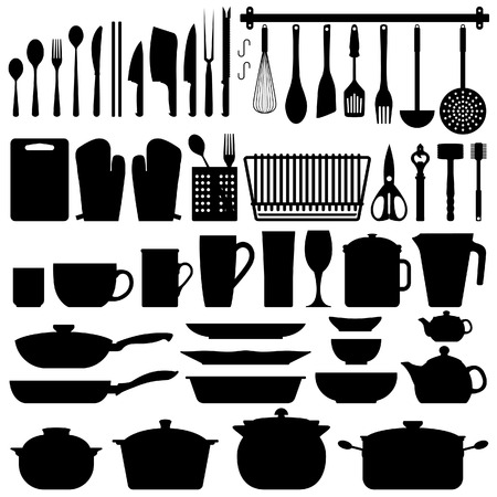 kitchen tool: Kitchen Utensils Silhouette Vector