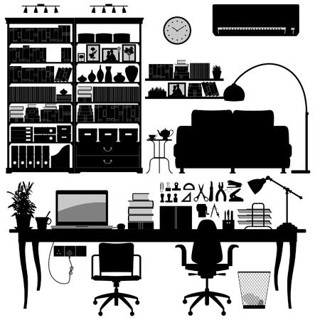 office chair: Home Office Library SOHO Vector Illustration