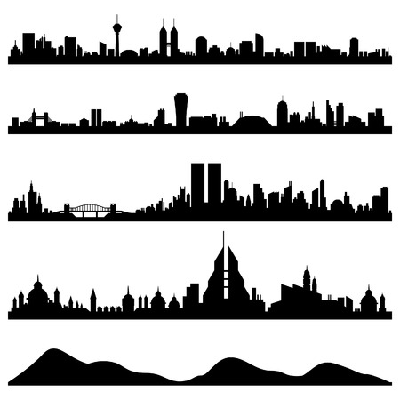 hong kong skyline: City Skyline Cityscape Vector Illustration
