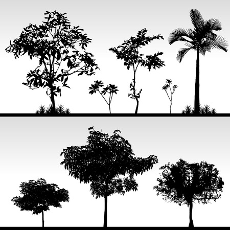 huge tree: Tree Bush Grass Silhouette Vector