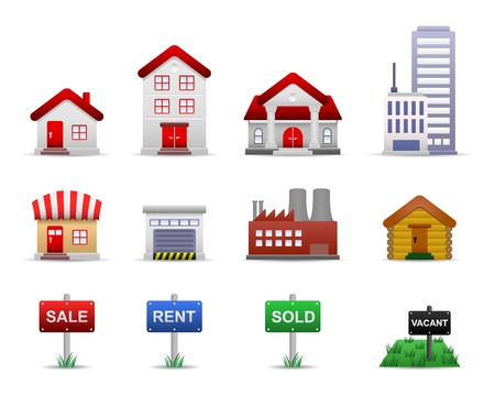 bungalows: Real Estates Property Icon Set Vector Illustration