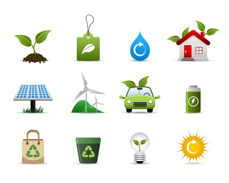 solar house: Green Environment Icon Set Vector