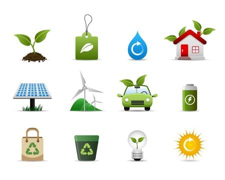 maison solaire: Vert environnement Icon Set Vector Illustration