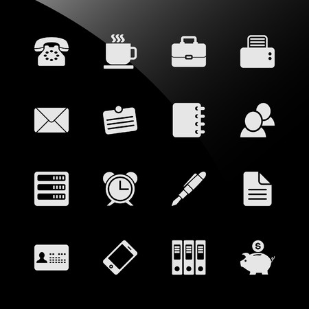 Office Work Workplace Business Financial Web Icons Vector