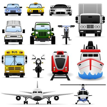 ship icon: Set di Icone Ship viaggio Car Truck Bus treno aereo trasporto veicoli  Vettoriali