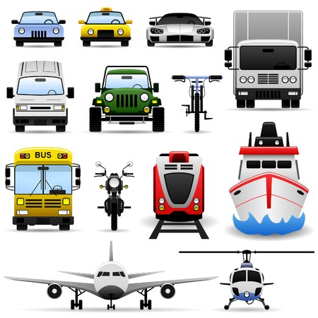 motor transport: Transportation Vehicle Travel Car Truck Bus Train Airplane Ship Icon Set