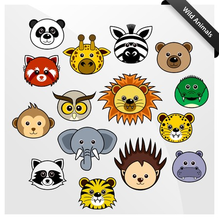 animal head: Wildlife Animal Cute Cartoon Illustration