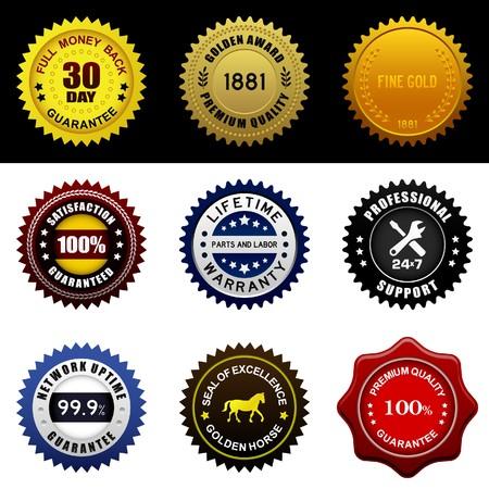 rosette: Warranty Guarantee Gold Seal Badge Vintage Award
