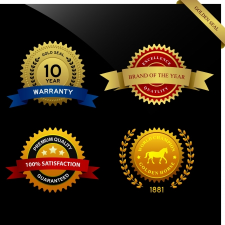 Warranty Guarantee Gold Seal Ribbon Vintage Award Vector